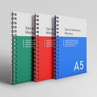 Gebrauchsfertig triple bussiness hardcover spiralbinder notebook mock up design-vorlage in front perspective view