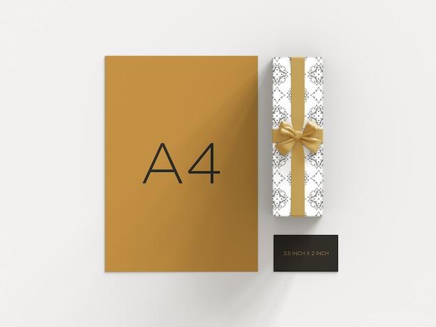 Gebrauchsfertiges briefpapiermodell mit draufsicht der geschenkbox