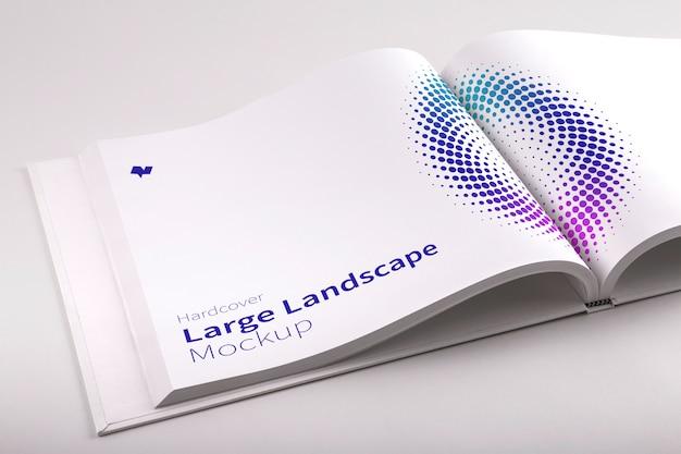 Gebundene ausgabe large landscape book psd mockup