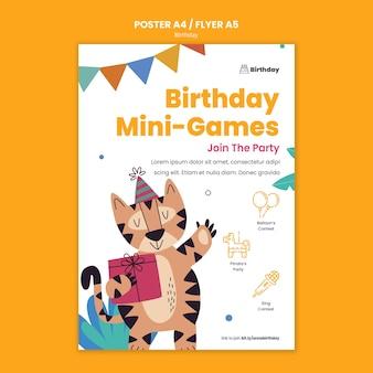 Geburtstagseinladungs-partyplakatschablone