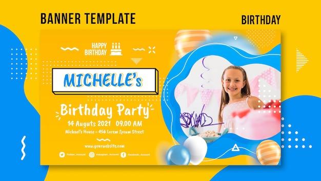 Geburtstagsfahnenschablone mit foto