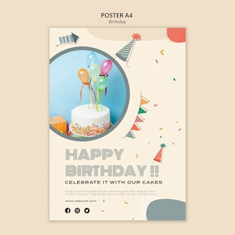 Geburtstagsfeier a4 plakatschablone