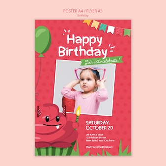 Geburtstagsplakat-konzeptschablone