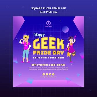 Geek pride day flyer vorlage mit menschen tanzen
