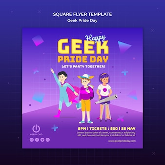 Geek pride day flyer vorlage mit superhelden