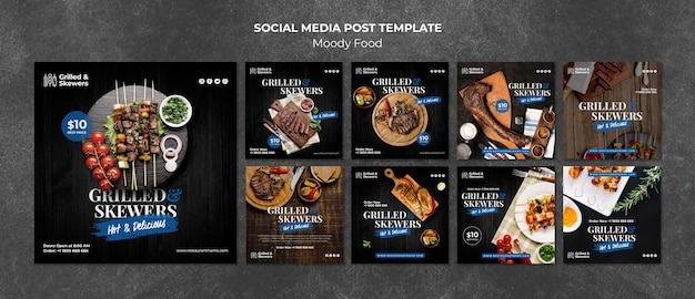 Gegrillte aufsteckspindelnrestaurantsocial media-beitragsschablone