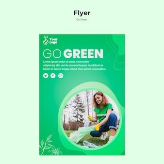 Gehen sie grüne umgebung flyer vorlage