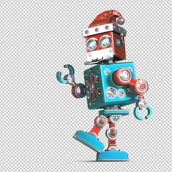 Gehender weihnachtsmann-roboter. technologie-weihnachtskonzept. isoliert