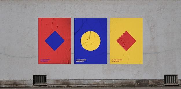 Geklebtes poster mockup