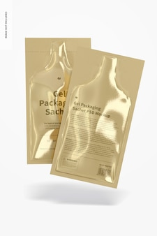 Gel-verpackungssachets mockup