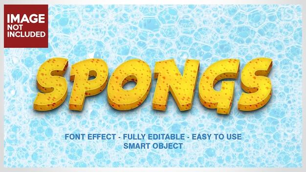 Gelbe beschaffenheit 3d-schriftarten-effekt für sponge-effekt, käse-effekt, keks oder kuchen-effekt mit bearbeitbaren schichten