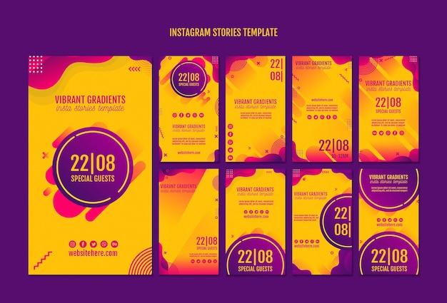 Gelbe instagram geschichtenschablone des musikfestivals