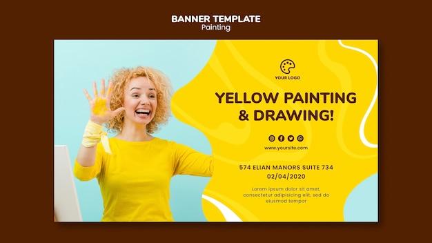 Gelbe mal- und zeichnungsschablone
