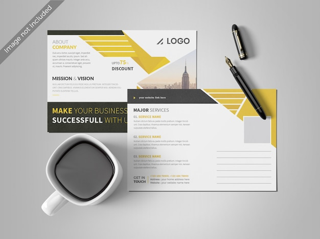 Gelbe postkarte designvorlage