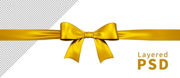 Gelbe satin geschenkband schleife isoliert