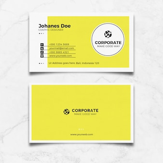 Gelbe saubere visitenkarte