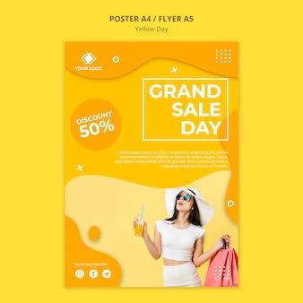 Gelbe tag grand sale day flyer vorlage