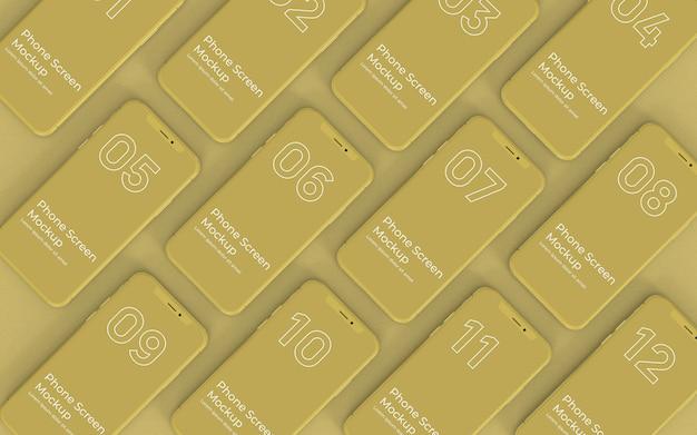 Gelbe telefonbildschirme mockup-draufsicht