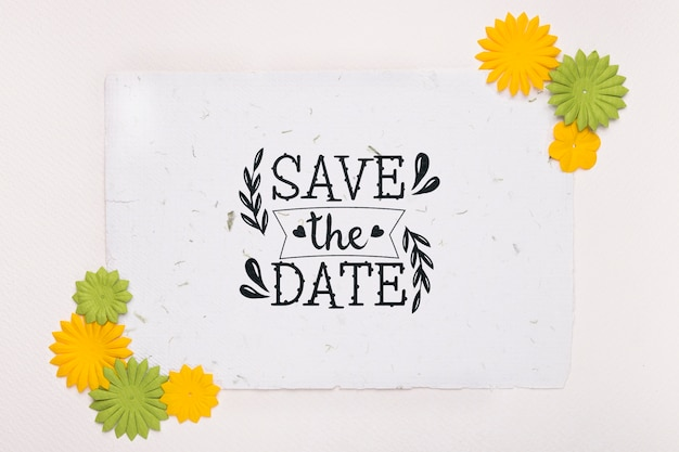 Gelbe und grüne blumen speichern das datumsmodell