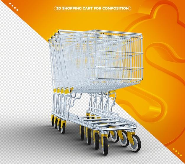 Gelber 3d einkaufswagen isoliert