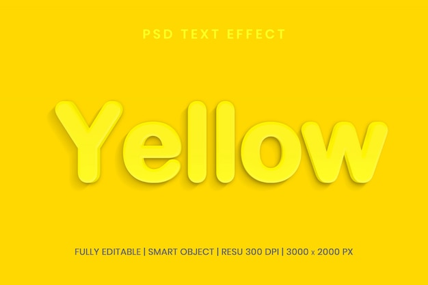 Gelber bearbeitbarer 3d psd texteffektstil