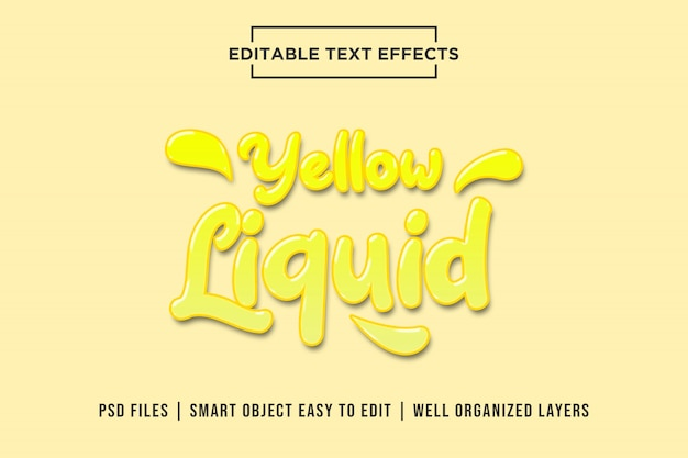 Gelber flüssiger texteffekt