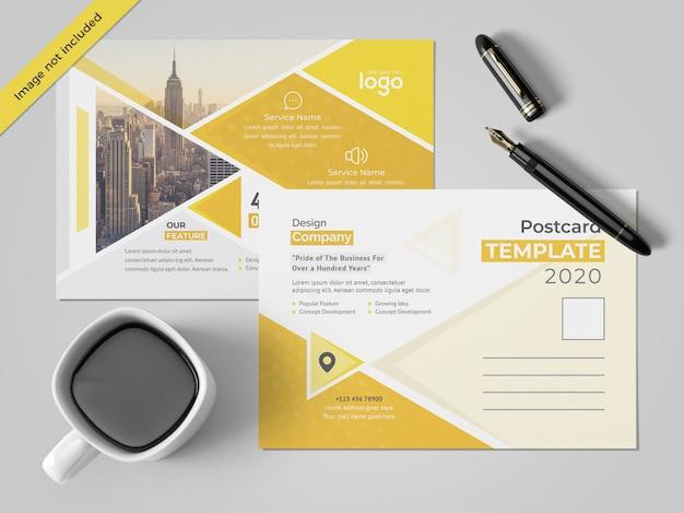 Gelber postkartenentwurf