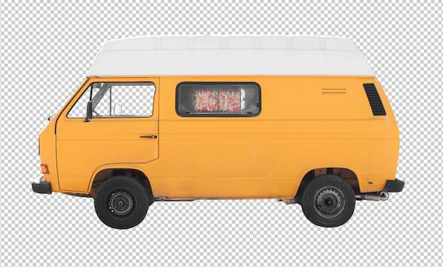 Gelber wohnwagen des hippies lokalisiert gegen weißen hintergrund