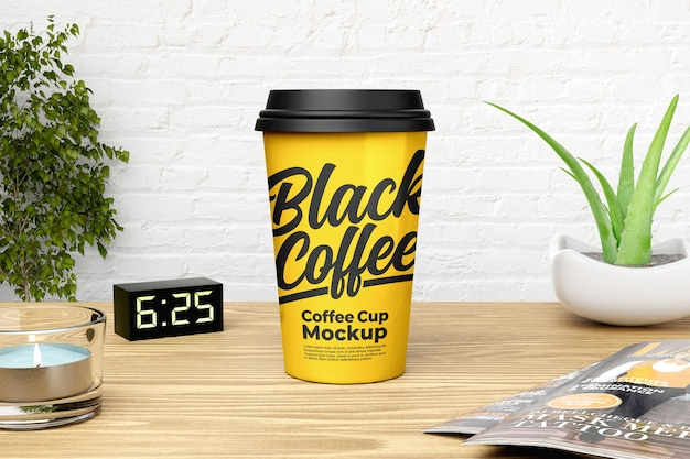 Gelbes kaffeetassenmodell mit weißem backsteinmauerhintergrund