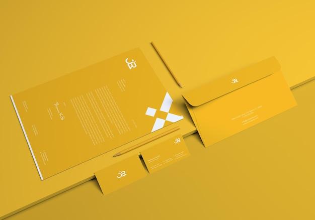 Gelbes minimalistisches identitäts-branding-mockup