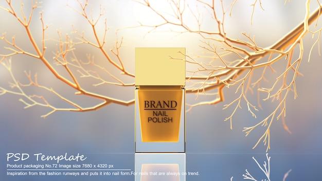Gelbes nagellackprodukt auf gelbem baumhintergrund 3d übertragen