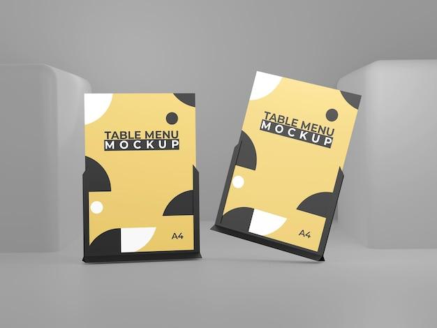 Gelbes schwarzes einfaches menütabellenmodell