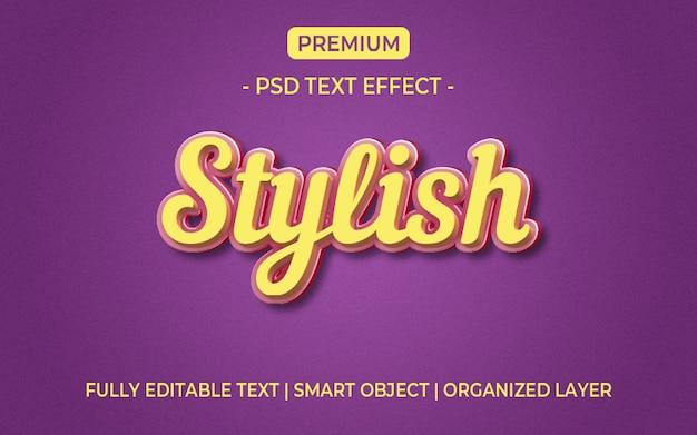 Gelbes und purpurrotes effektmodell des textes 3d