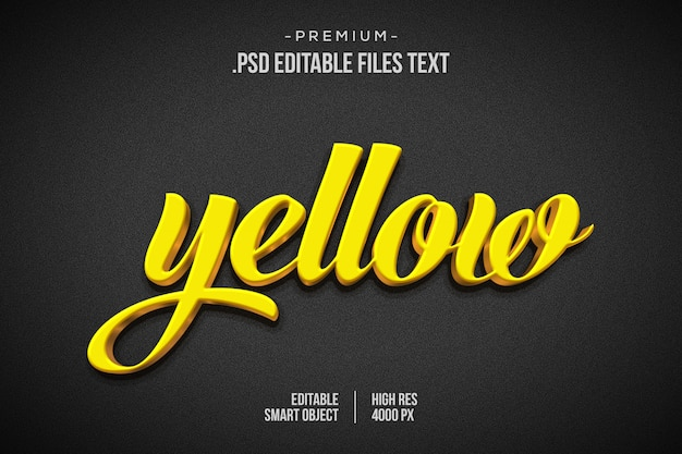 Gelbgoldener texteffekt psd, setzen eleganten abstrakten schönen texteffekt, 3d-textstil