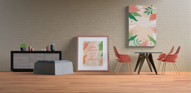 Gemälderahmen mit leerem raum im wohnzimmer