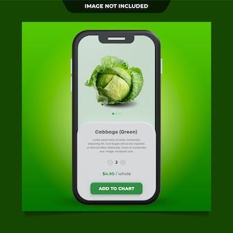 Gemüse in 3d-rendering der apps-benutzeroberfläche