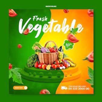 Gemüse social media post vorlage rabatt banner