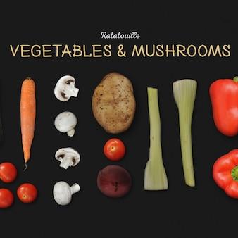Gemüse und pilze hintergrund