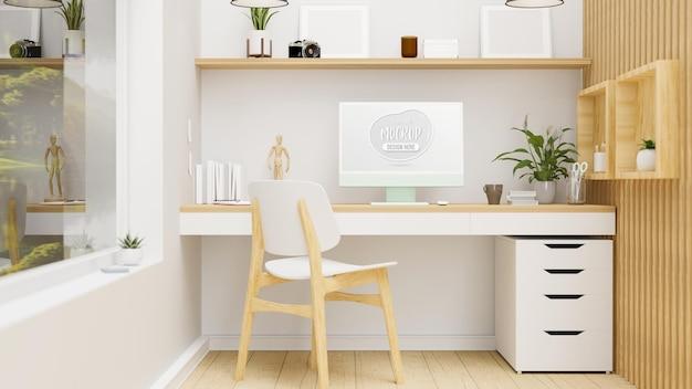 Gemütliche innenarchitektur des home-office-raums mit computerdekorationen und holzmöbeln 3d-rendering