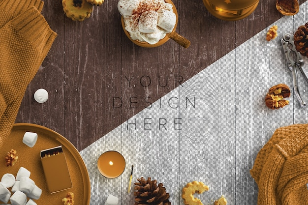 Gemütliche winter-szene mit kerzen, heißem getränk, marshmallows, nüssen und wollkleidung