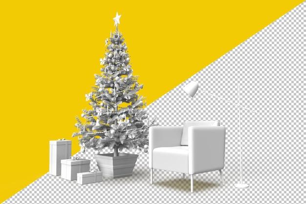 Gemütliches zimmerinterieur mit weihnachtsbaum und geschenken