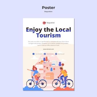 Genießen sie lokales tourismusplakatdesign