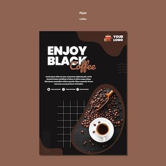 Genießen sie schwarze kaffee flyer vorlage