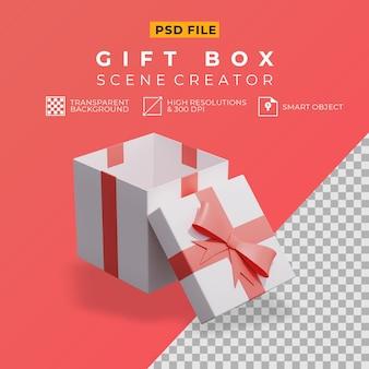 Geöffnete geschenkbox 3d rendern für szenenersteller