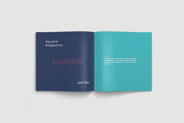Geöffnete quadratische magazin- / buchmodell-draufsicht