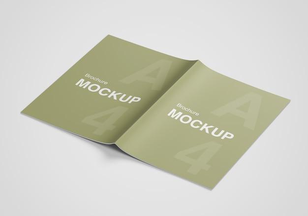 Geöffnete und geschlossene broschüre oder magazinmodell