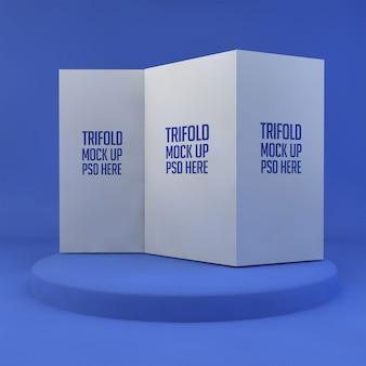 Geöffnetes dreifach gefaltetes broschürenmodell