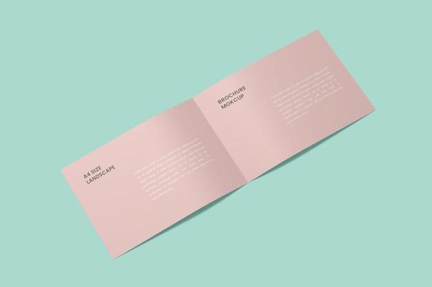 Geöffnetes landschafts-bifold-broschürenmodell