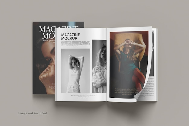 Geöffnetes magazin-mockup-rendering isoliert