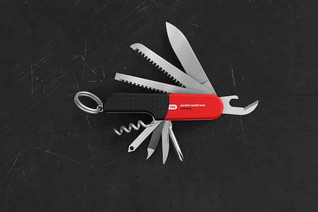 Geöffnetes multi-tool-modell mit markenzeichen